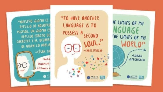 Three ACTFL World Language Classroom Posters With Inspirational Quotes