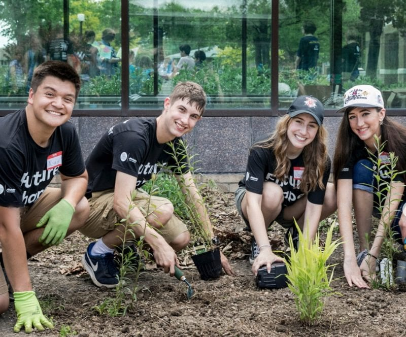 Group of students gardening.