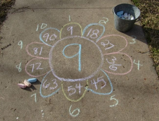 Flower drawn on the sidewalk with the number 9 in the middle and factors of 9 on the petals
