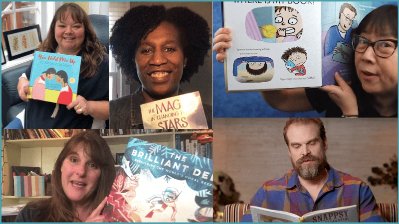 Collage of author readaloud YouTube videos