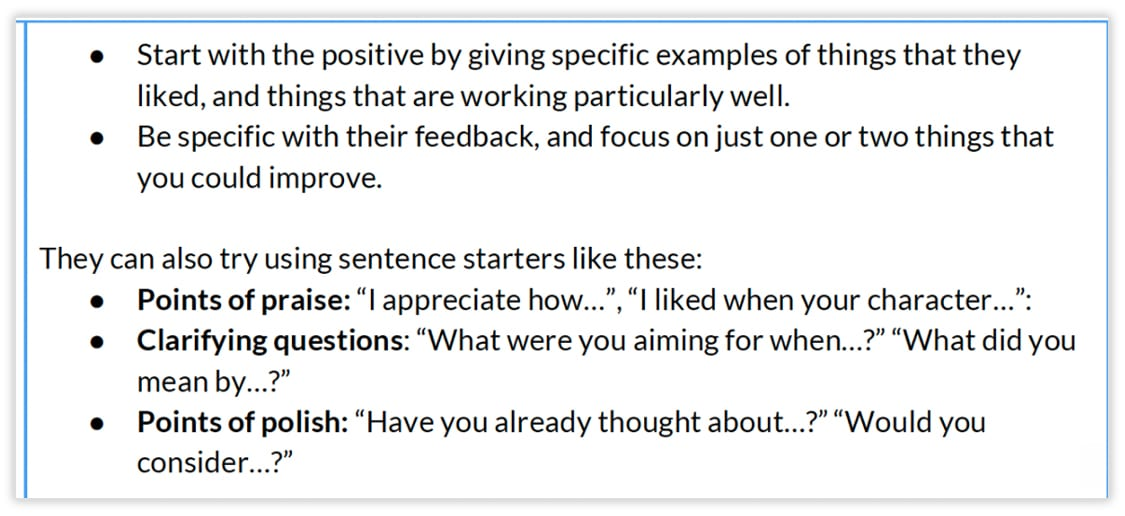 A picture of an Adobe Education lesson plan that has sentence starters for students to use when giving and getting feedback.