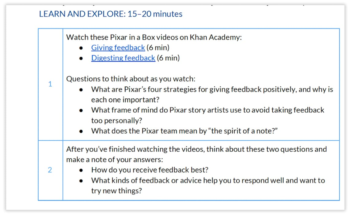 A picture of the Learn and Explore portion of an Adobe Education lesson plan for students too give and get feedback.