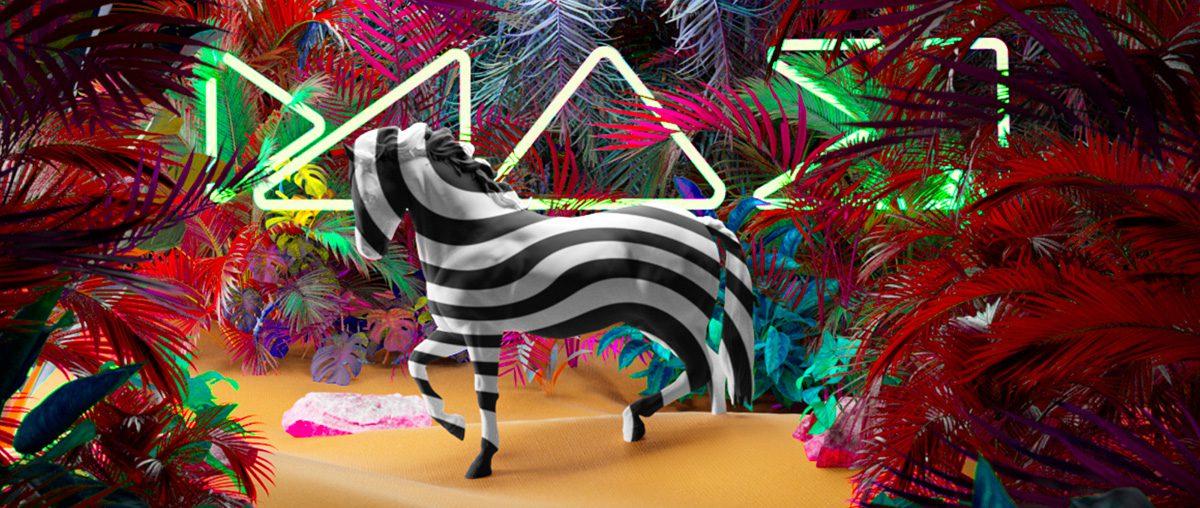 illustration of zebra on neon background
