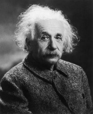 Black and white portrait of Albert Einstein