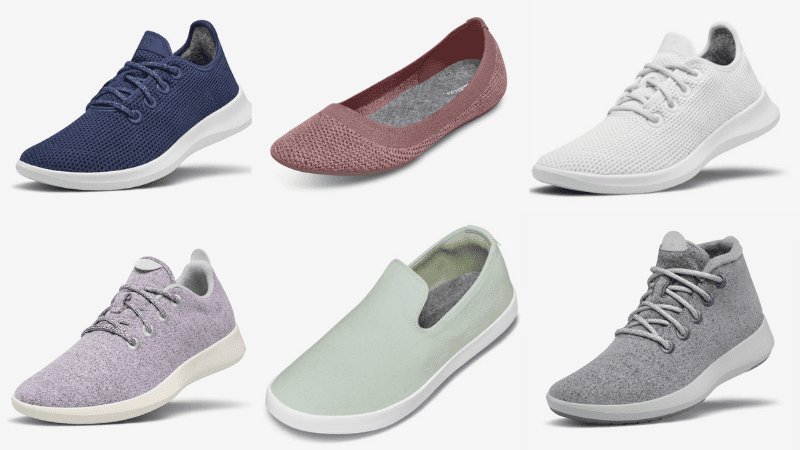 Allbirds shoes: navy Tree Runners; pink Tree Breezers; white Tree Runners; orchid Wood Runners; mint slip-ons; gray Wool high tops