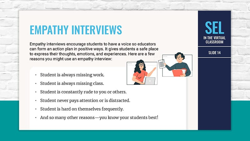 directions for how to run an empathy interview for SEL in the virtual classroom