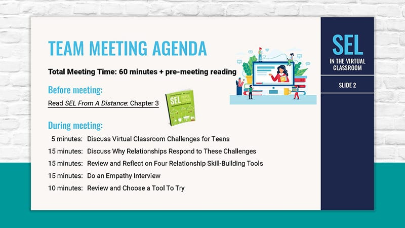 agenda for running a staff meeting for SEL in the virtual classroom