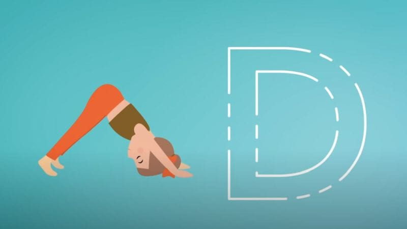A cartoon lady stretching with the letter, D, next to her.