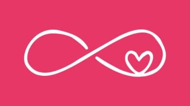 White infinity sign with a heart inside of it on a pink background.
