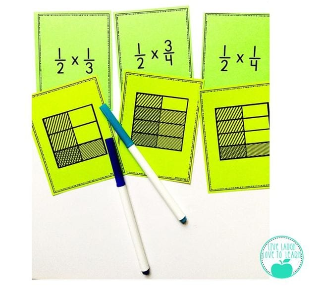 Cards showing area method multiplication for fractions