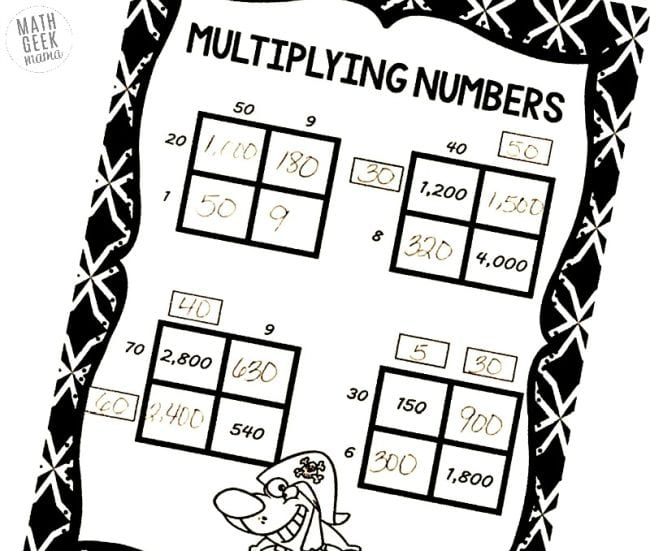 Worksheet showing area model multiplication practice puzzles
