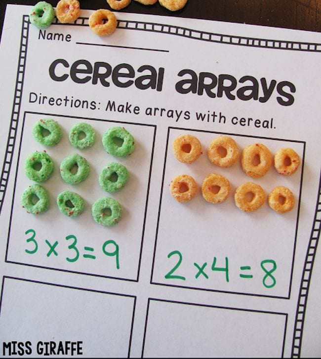 Multiplication arrays using Froot Loop cereal pieces - Area Model Multiplication
