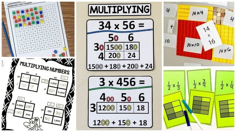 Collage of Area Model Multiplication Activities