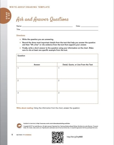 Ask and Answer Questions - Citing Textual Evidence Activities