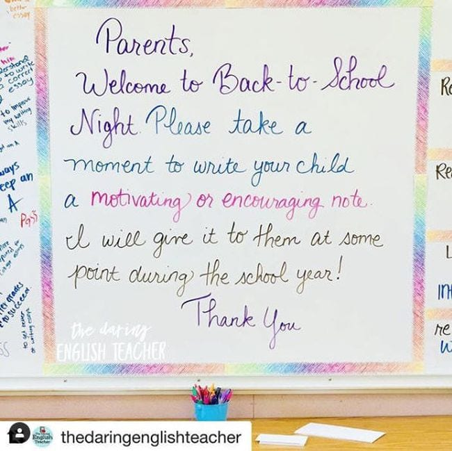 Back-to-School Night Parent Note Write On With Miss G/Instagram