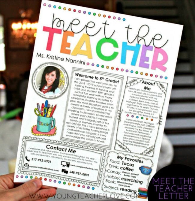 Back-t-School Night Teacher Letter Young Teacher Love