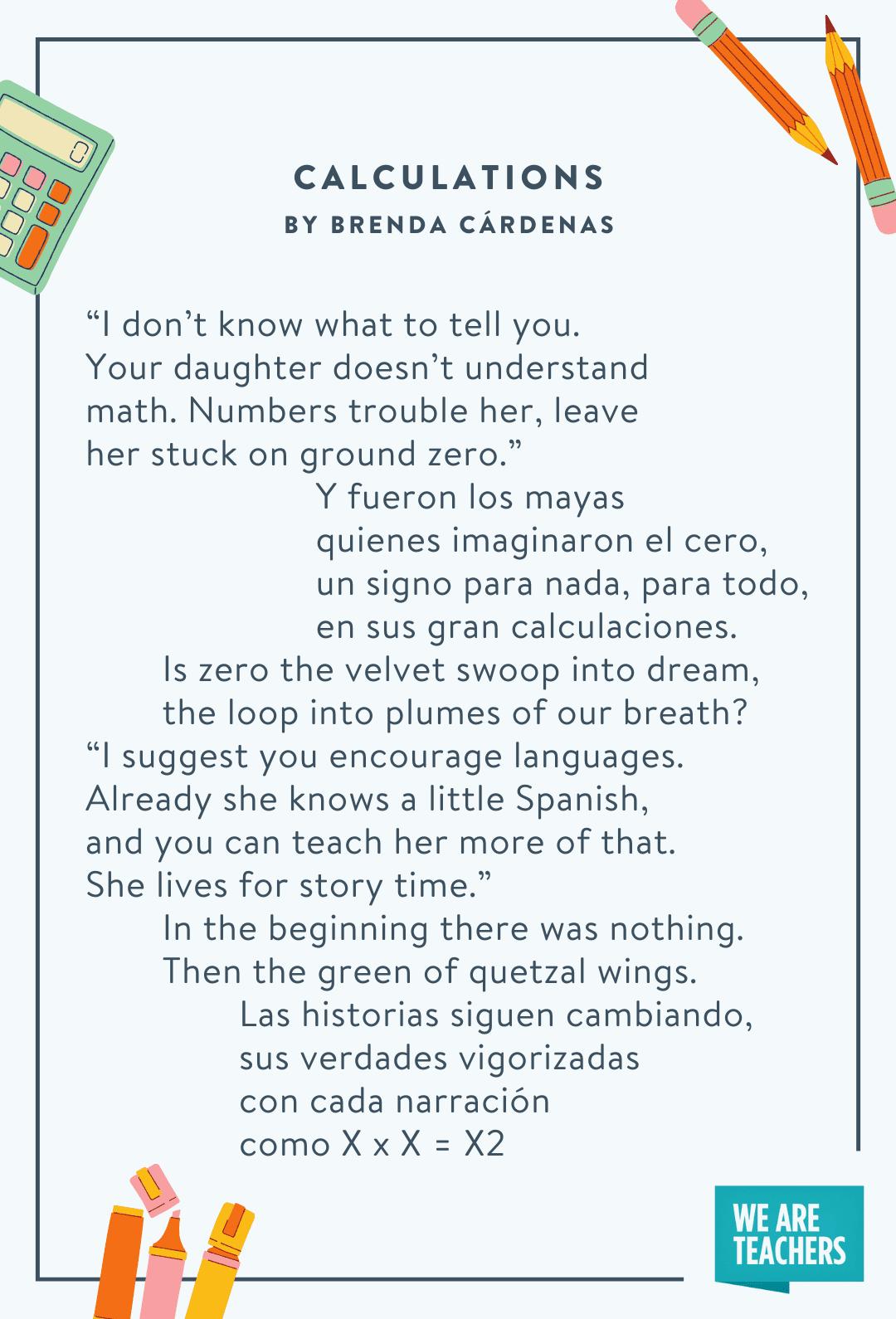 Calculations by Brenda Cárdenas -- back to school poems