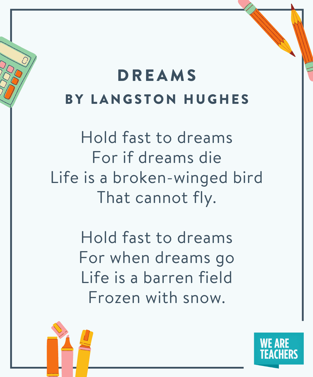 Dreams by Langston Hughes -- back to school poems