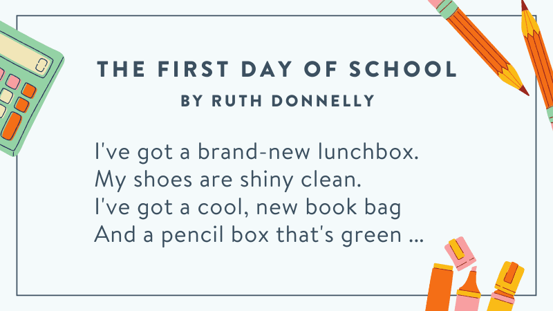 The First Day of School -- Back to School Poems