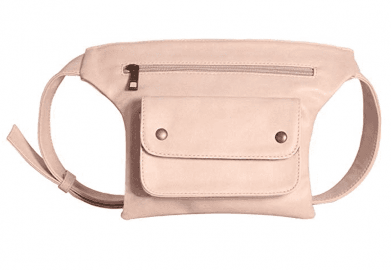 Pink leather teacher fanny pack