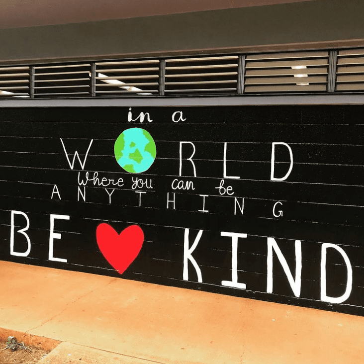 Be kind painted mural