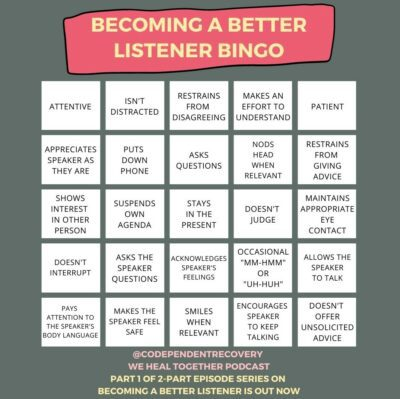 Becoming a Better Listener Bingo