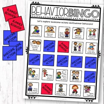 picture of Behavior Bingo game card and game pieces
