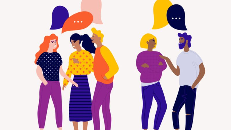 cartoon drawing of diverse group of people talking