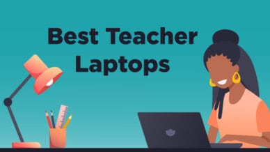 The best teacher laptops written on a teal background with a black woman working at her desk and on her laptop.