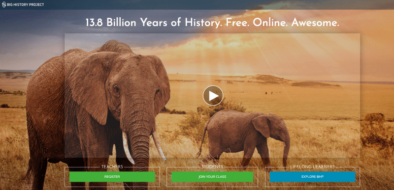 Two elephants on the Big History social studies website