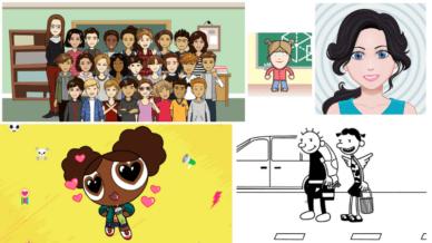 Five separate images of Bitmoji's.