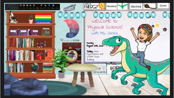 Classroom screenshot with dinosaurs