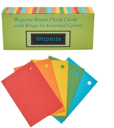 Blank flash cards assorted colors