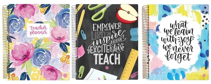 Collage of Bloom planner covers, including floral and school supply motifs