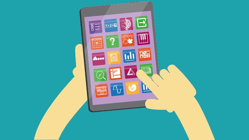 BookWidget icons on tablet.