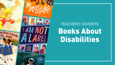 Teachers' favorite books about disabilites with 5 of the books on a teal background.