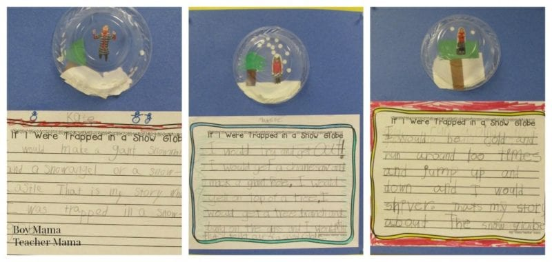Classroom Winter Crafts - Snowglobe Writing