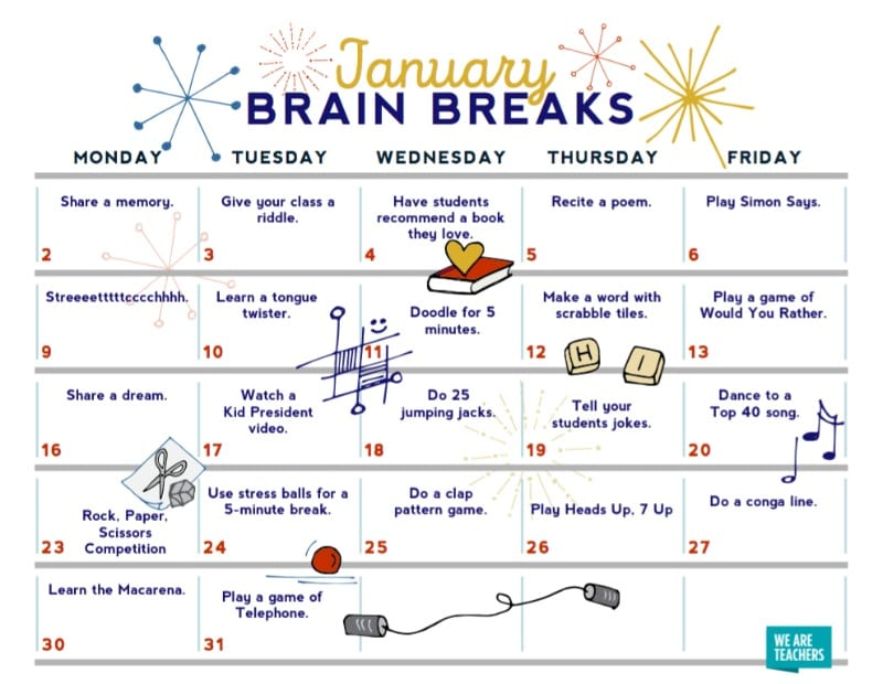 Calendar Craft Ideas Ks : Brain breaks free printable calendar for teachers and students