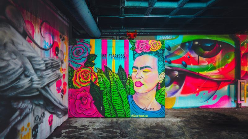 Brightly painted walls displaying Frida Kahlo to celebrate Hispanic Heritage Month