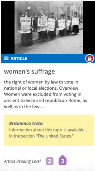 Screenshot of a lesson on women's suffrage from Britannica