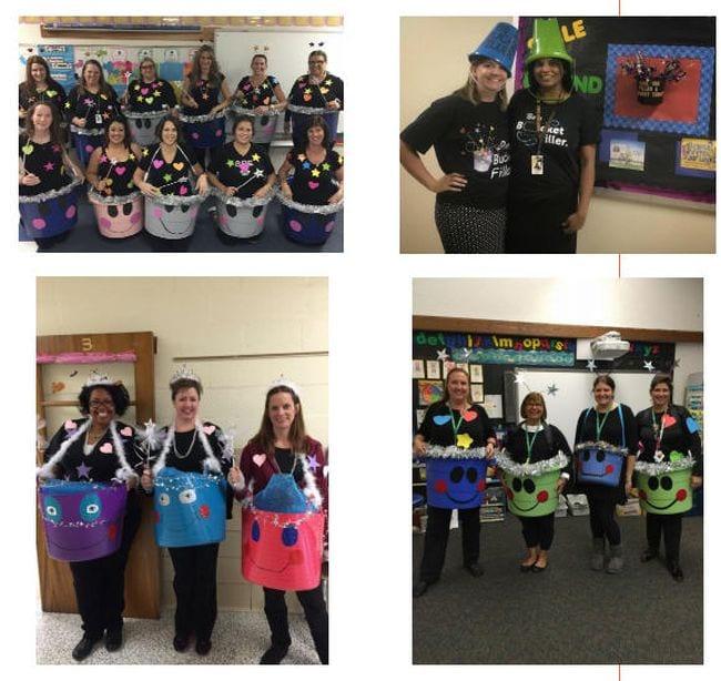 Collage of teachers dressed in large plastic bucket costumes (Bucket Filler Activities)