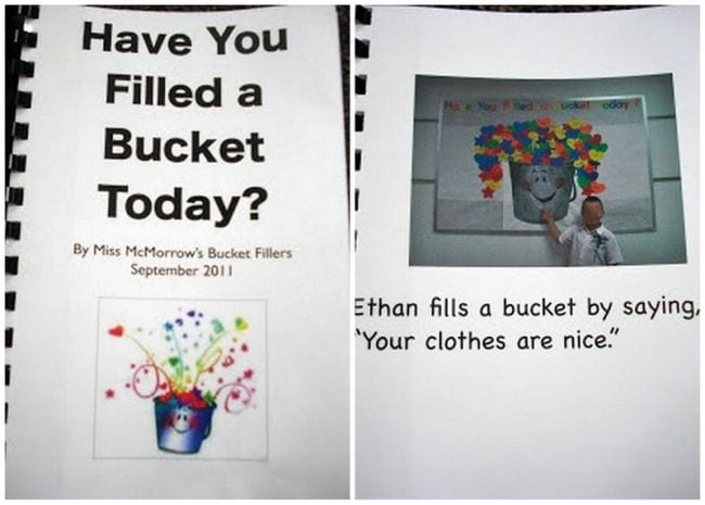 """Homemade book called Have You Filled a Bucket Today with one page showing a child saying """"Your clothes are nice."""""""