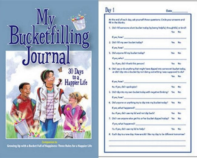 My Bucket Filler Journal and sample page