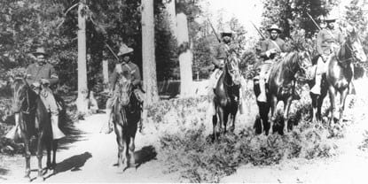 Buffalo Soldiers in black and white photo.