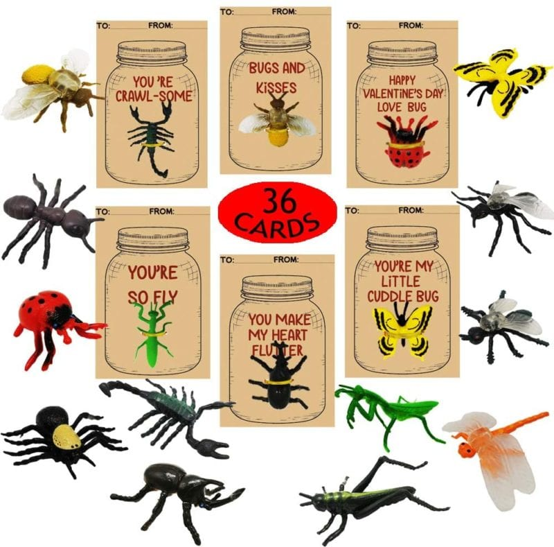 Collection of mini bug figurines and valentine's day cards with punny sayings about bugs