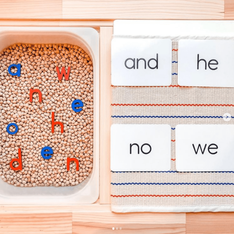Build words in a sensory tub