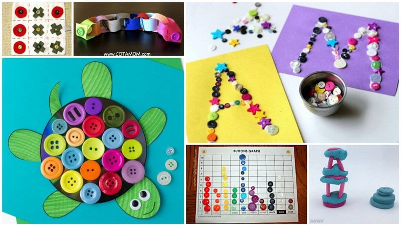 Six Separate Images of Bright Ways to Button Activities.