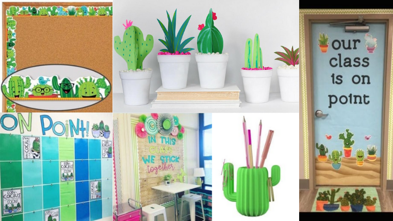 Cactus theme collage for the classroom