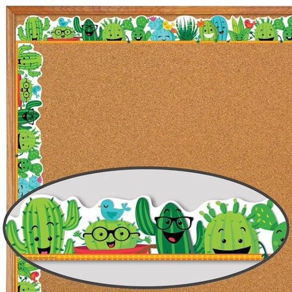Green cactus classroom border trim with blue birds and accents