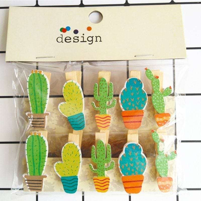 Colorful collection of wooden cactus-themed clothespins